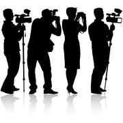 Cameraman with video camera. Silhouettes on white background. - stock illustration