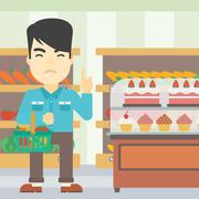 Man refusing junk food vector illustration Stock Illustration