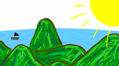 Video of child like simple illustration of sea - ocean, hills during sunny da Stock Footage