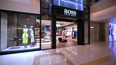 Hugo Boss store in Hong Kong mall. Stock Footage