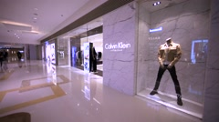 Calvin Klein store in Hong Kong mall. Stock Footage