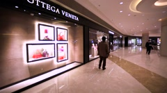 Bottega Veneta store in Hong Kong mall. Stock Footage