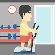 Man exercising on elliptical trainer - stock illustration
