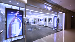 La Prairie store in Hong Kong mall. Stock Footage