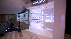 Sisley store in Hong Kong mall. Stock Footage