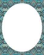 Circle White Background with Decorated Round Borders - stock illustration