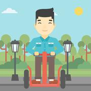 Man driving electric scooter vector illustration - stock illustration