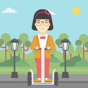 Woman driving electric scooter Stock Illustration