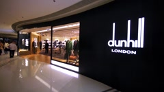 Dunhill store in Hong Kong mall. Stock Footage