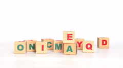 Idea word made up from scattered cubes with letters Stock Footage