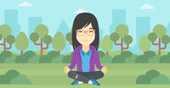 Business woman meditating in lotus position Stock Illustration
