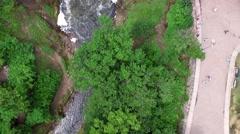 Aerial Shot Looking Down Over Minnehaha Waterfalls Stock Footage