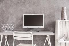 White minimalist furniture - stock photo