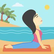 Woman practicing yoga upward dog pose on beach Stock Illustration