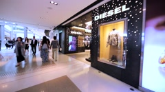 Diesel store in Hong Kong mall. Stock Footage