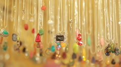 Semi precious jewelry stones beads in shop sale Stock Footage