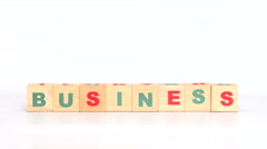Bussiness word out of cubes Stock Footage