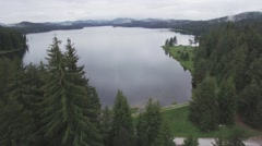 GROM FOREST OVER LAKE. Stock Footage