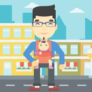 Father carrying his daughter in sling - stock illustration