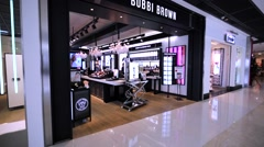 Bobbi Brown store in Hong Kong mall. Stock Footage