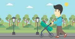 Father walking with his baby in stroller - stock illustration