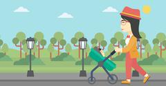 Mother walking with her baby in stroller - stock illustration