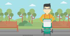 Father walking with baby stroller - stock illustration
