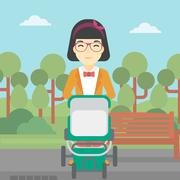 Mother walking with baby stroller - stock illustration