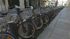 Rental bikes in Paris - European transportation for tourists Stock Footage