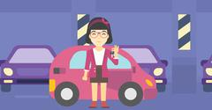 Woman holding keys to her new car Stock Illustration