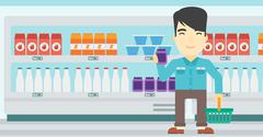 Customer with shopping basket and tube of cream Stock Illustration
