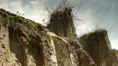 Historic wall at St Guilhem le Desert, Cevennes France - stock footage