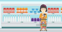 Customer counting on calculator - stock illustration