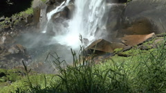 A Rainbow at the Bottom of Vernal Falls in Yosemite Stock Footage