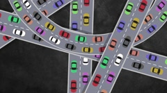 Top View on Heavy Traffic Cars Driving in Busy Intersection in Rush Hour Stock Footage