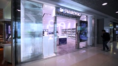 Swarovski store in Hong Kong mall. Stock Footage