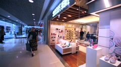 Geox store in Hong Kong mall. Stock Footage