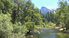 Rafters Engage in a Water Fight in Yosemite Stock Footage