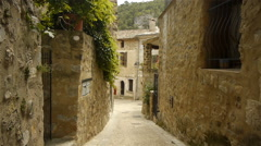 Old street at historic St Guilhem le Desert, Cevennes France Stock Footage