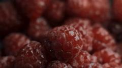 Dessert of raspberries and ice cream close up Stock Footage