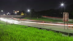 Night Traffic in front of the Cityscape Stock Footage