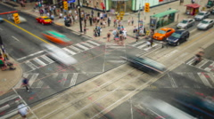 Timelapse of People and Traffic at Busy Intersection in Toronto, Ontario, Canada Stock Footage