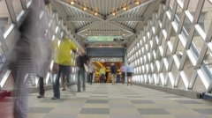 Pedestrians in the City Center Skyway - stock footage