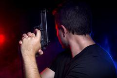 Smoky Police Shootout Stock Photos