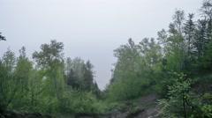 Foggy Dusk over Lake Superior Stock Footage
