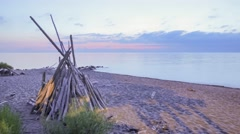 Sunset Lake Superior Calm Beach Stock Footage
