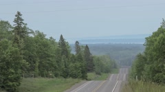 Rural Highway Looking Over Lake Superior Stock Footage