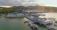 Aerial of city centre in Paihia, Northland, New Zealand Stock Footage
