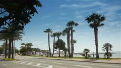 Palm tree boulevard, Cote D'Azur France Stock Footage