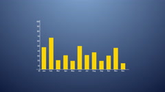 Bar graph with arrows axis. Grow, chart, statistic. Infographics in flat design. Stock Footage